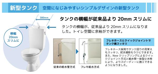 タンクの横幅が、従来品より20mmスリムになりました。トイレ空間に余裕ができます。フレキホースとクイックジョイントでタンク横もすっきり